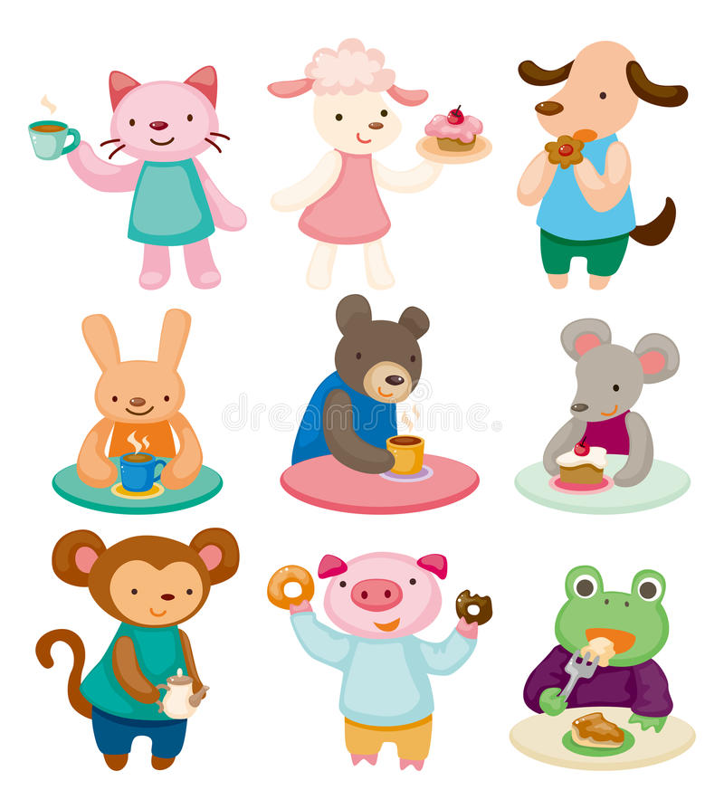 Cartoon animal tea time set stock illustration