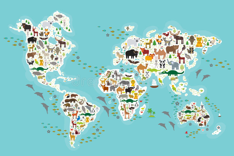 Cartoon animal world map for children and kids, Animals from all over the world, white continents and islands on blue. Background of ocean and sea. Vector royalty free illustration