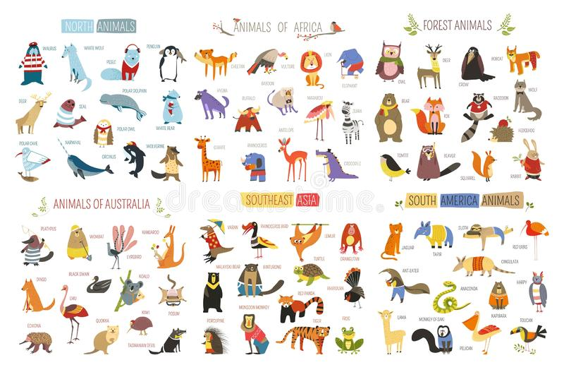 Cartoon animals and birds of different continents royalty free illustration