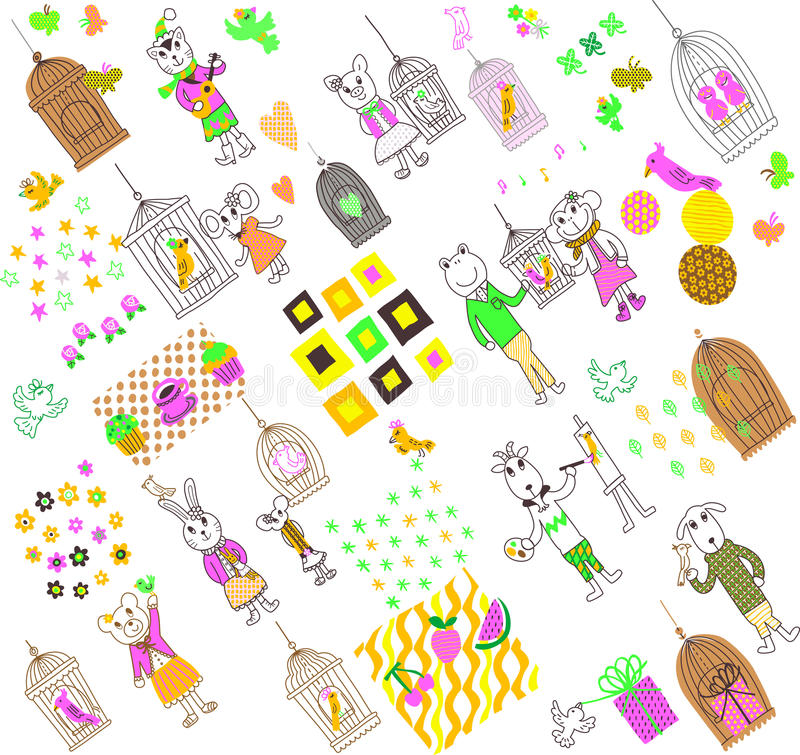 Cartoon animals 02. Cartooning animals, free drawing, in a color scheme, include repeated swatches, available in eps format for use stock illustration