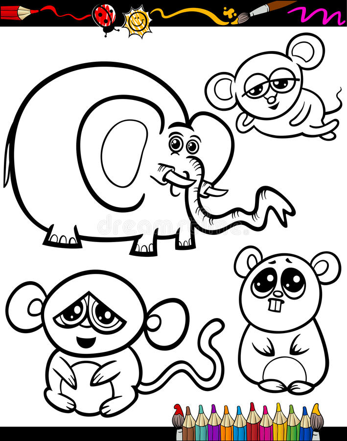 Download Cartoon Animals For Coloring Book Stock Illustration
