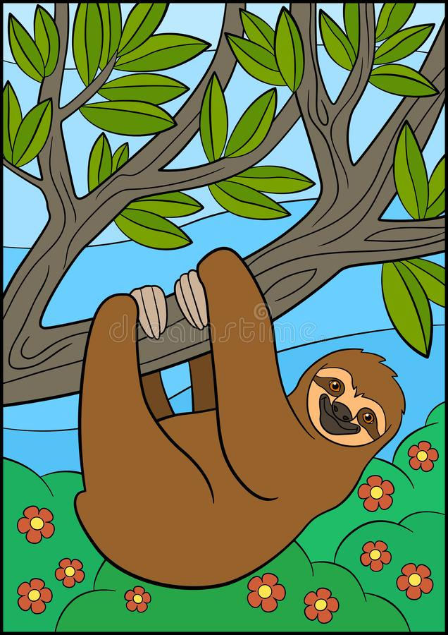 Cartoon animals. Cute lazy sloth hangs on the tree. Branch and smiles royalty free illustration