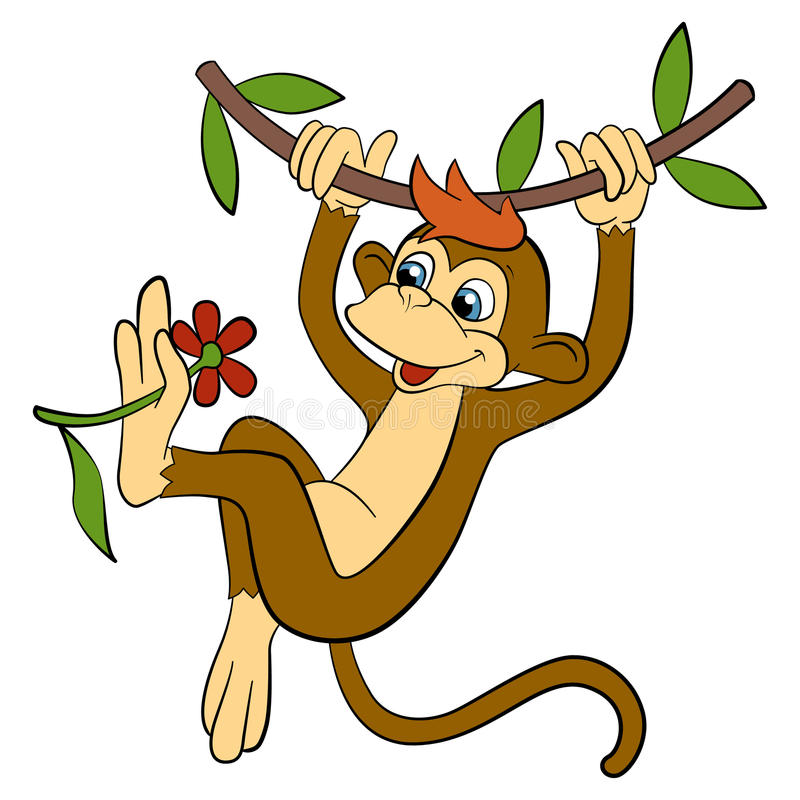 Free Cartoon Animals For Kids. Little Cute Monkey Hangs. Royalty Free Stock Photo - 71388575