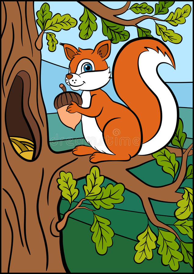Free Cartoon Animals For Kids. Little Cute Squirrel. Stock Images - 71212114