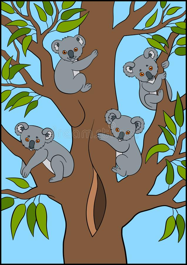 Cartoon animals. Four little cute koala babies sit on the tree. Cartoon animals. Four little cute koala babies sit on the tree and smile stock illustration