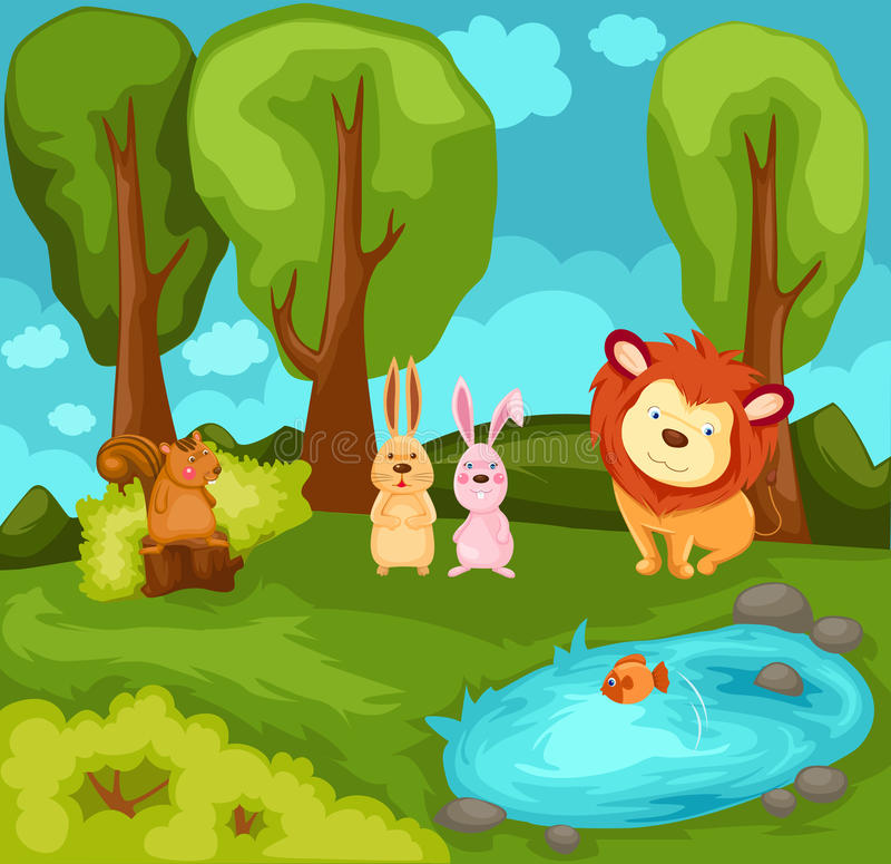 Download Cartoon Animals In The Jungle Stock Vector - Image: 15646444