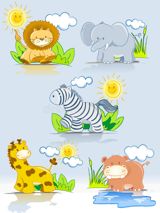 Free Cartoon Animals Jungle Set Stock Images - 15066974
