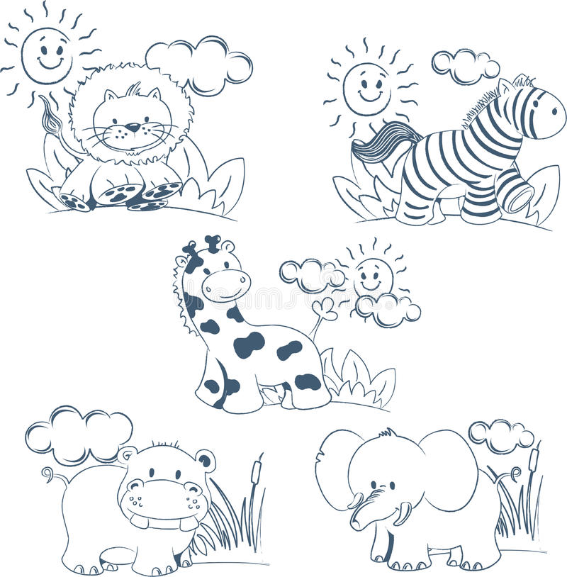 Free Cartoon Animals Jungle Set Outline Royalty Free Stock Images - 15066979