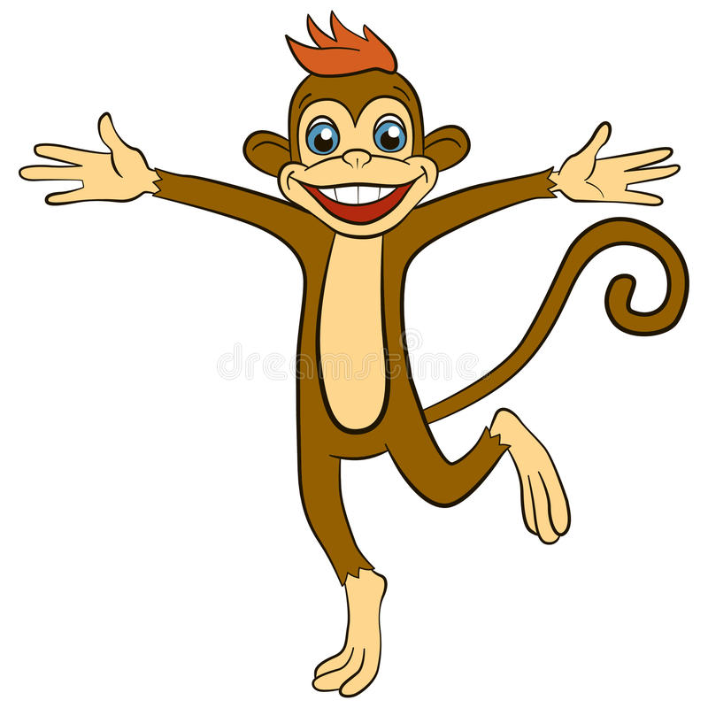 Cartoon animals for kids. Little cute monkey runs and waves vector illustration