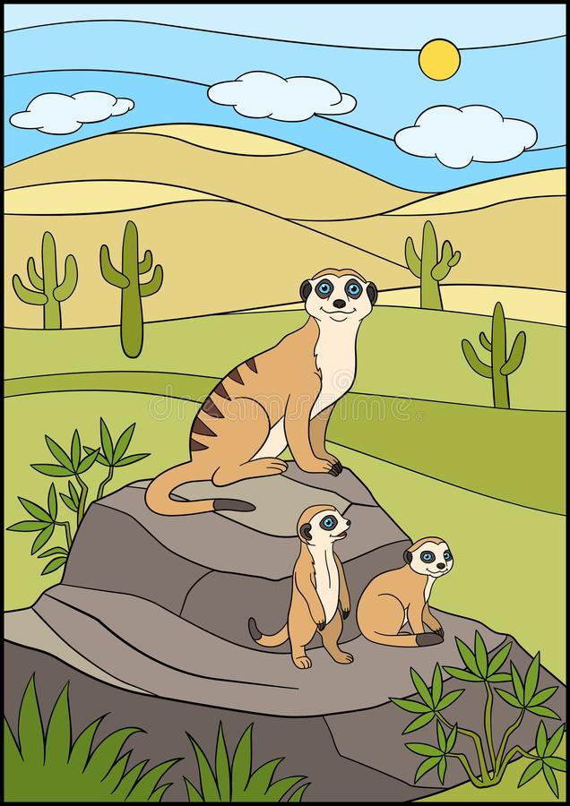 Cartoon animals. Mother meerkat with her cute babies. Cartoon animals. Mother meerkat with her little cute babies on the stone royalty free illustration