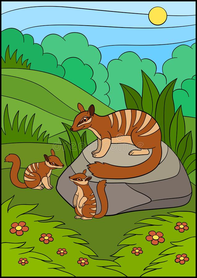 Cartoon animals. Mother numbat with her babies. Cartoon animals. Mother numbat with her little cute babies stock illustration