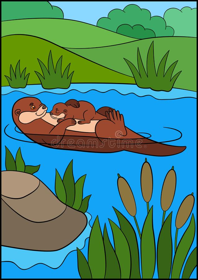 Cartoon animals. Mother otter swims with her sleeping cute baby in the river vector illustration