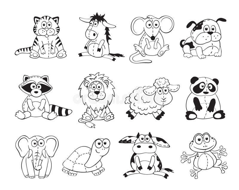 cute cartoon animals on white background stuffed toys set cartoon animals outline collection - Animal Outlines