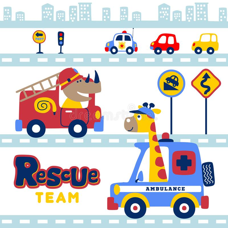 Cartoon of animals rescue team in the city with vehicles stock illustration