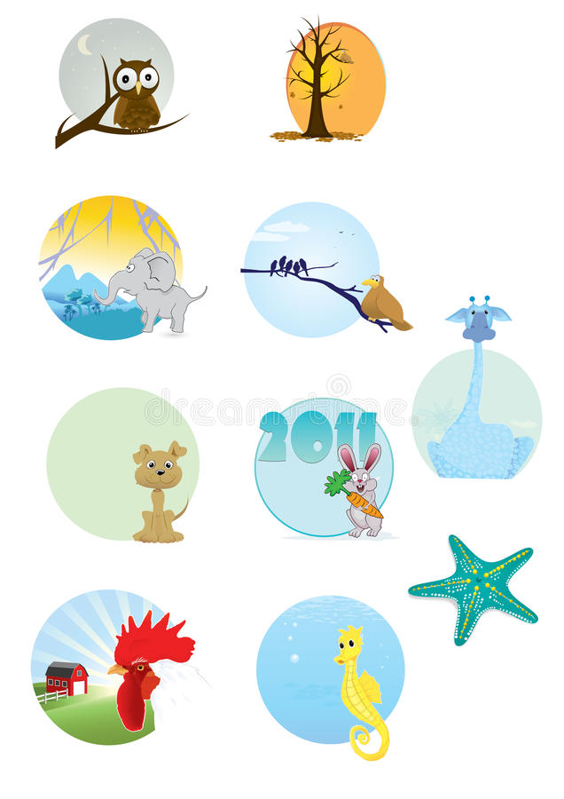 Cartoon Animals Series stock illustration