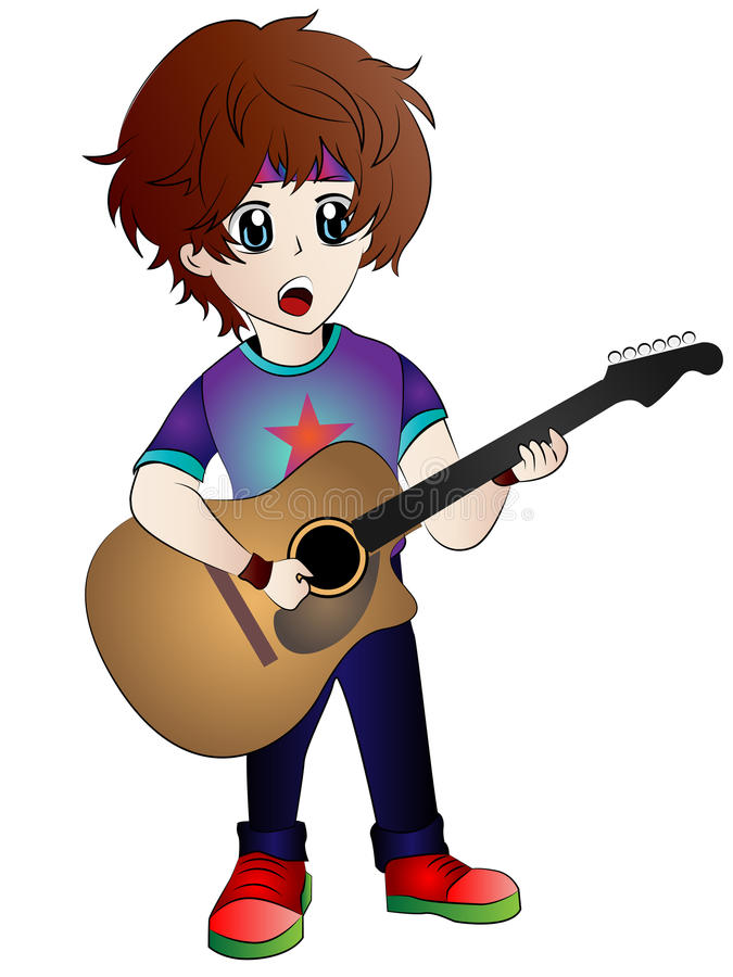 Cartoon Anime Guitarist stock vector. Illustration of ...