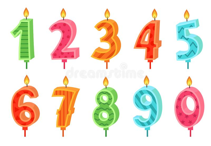 Cartoon anniversary numbers candle. Celebration cake candles burning lights, birthday number and party candle vector set stock illustration