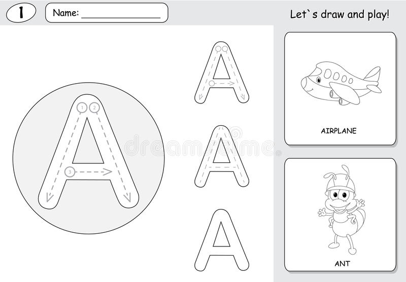 Cartoon ant and aircraft. Alphabet tracing worksheet: writing A-Z and educational game for kids. Cartoon ant and aircraft. Alphabet tracing worksheet: writing A vector illustration