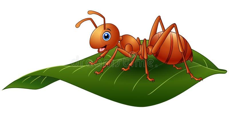 Cartoon ant on the leaf. Illustration of Cartoon ant on the leaf stock illustration
