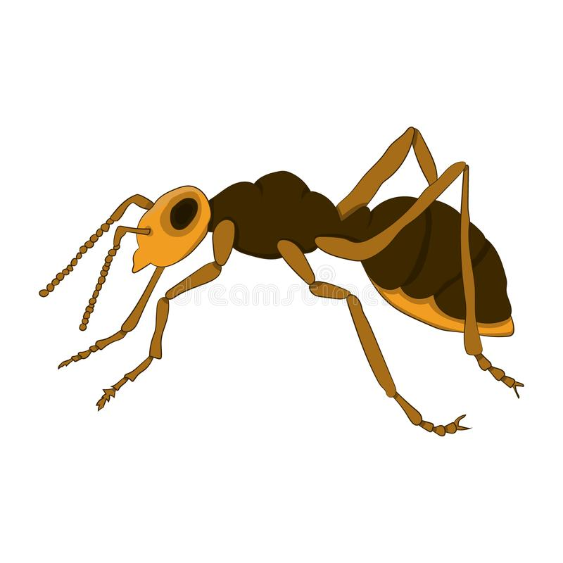 Cartoon ant on a white background. Vector illustration. Hand drawing vector illustration