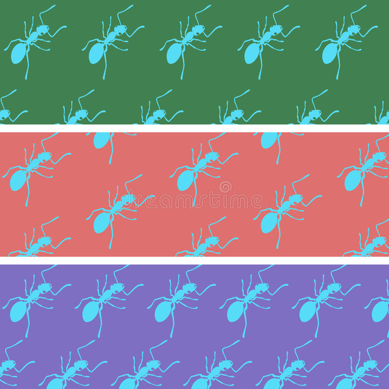 Cartoon ants on a color back stock photography
