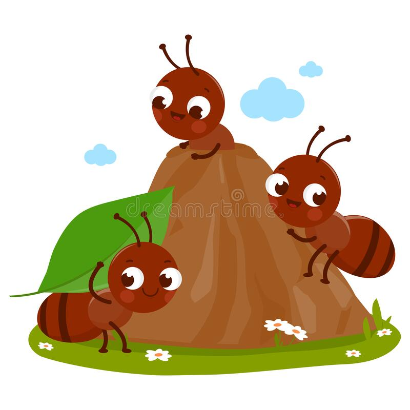 Free Cartoon Ants In Ant Hill Carrying Food Into Their Nest. Vector Illustration Royalty Free Stock Image - 191766506