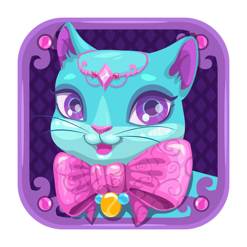 Cartoon app icon with blue pretty kitty girl. stock illustration