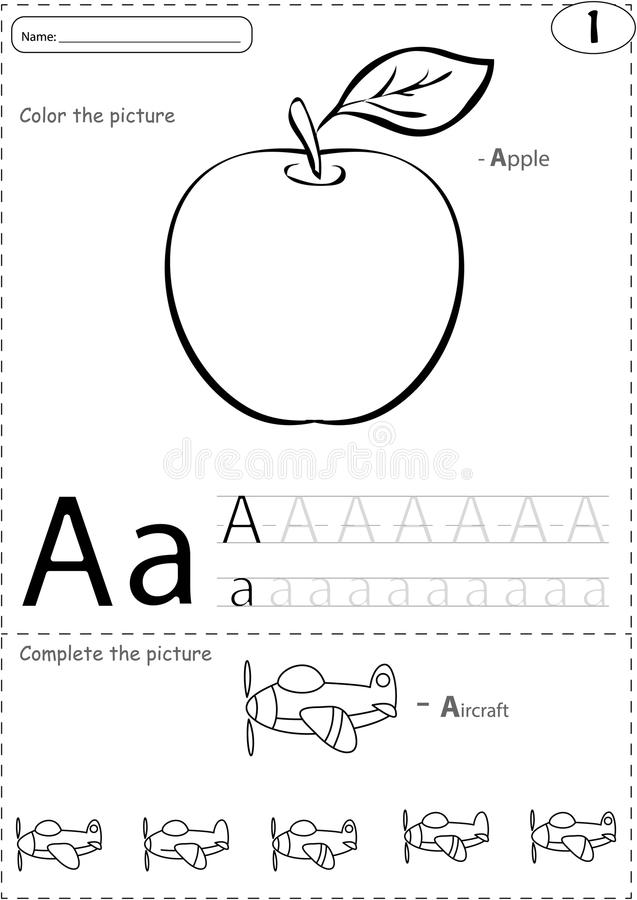 Vector Drawing Lines Worksheets : Cartoon apple and aircraft alphabet tracing worksheet