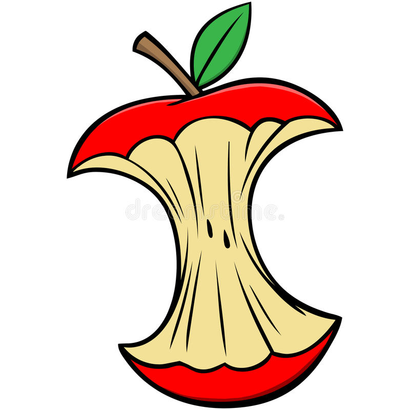 Free Cartoon Apple Core Royalty Free Stock Photography - 53745607