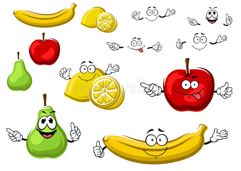 Cartoon apple, lemon, banana, pear fruits royalty free illustration