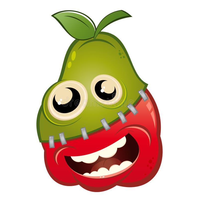 Cartoon Apple And Pear Fruit Stock Image