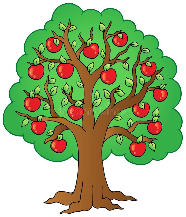 Cartoon apple tree stock vector. Illustration of clipart ...