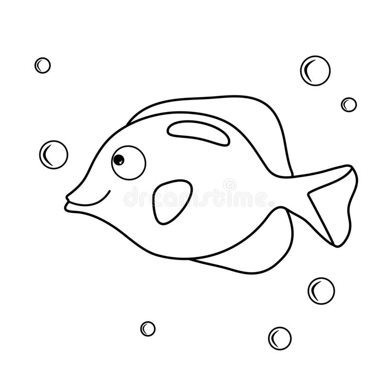 Cartoon aquarium fish. Coloring book with inhabitants sea. Vector character and water bubbles. A simple game for kids. Ocean page royalty free illustration