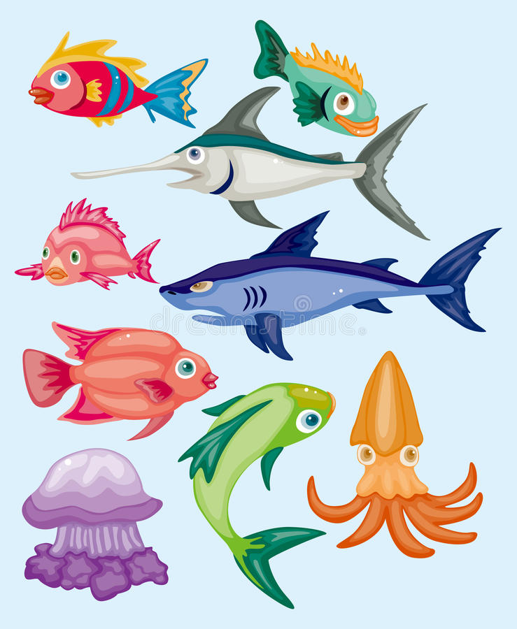 Download Cartoon aquatic animal set stock vector. Illustration of jellyfish - 22153544