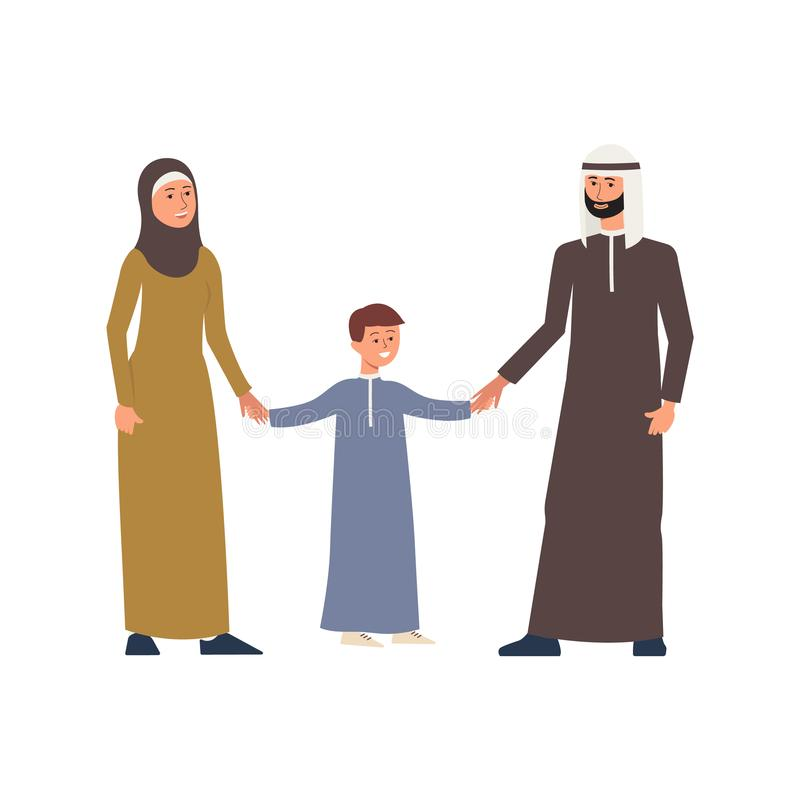 Cartoon arab or muslim family people characters in national cloth flat vector illustration isolated. vector illustration
