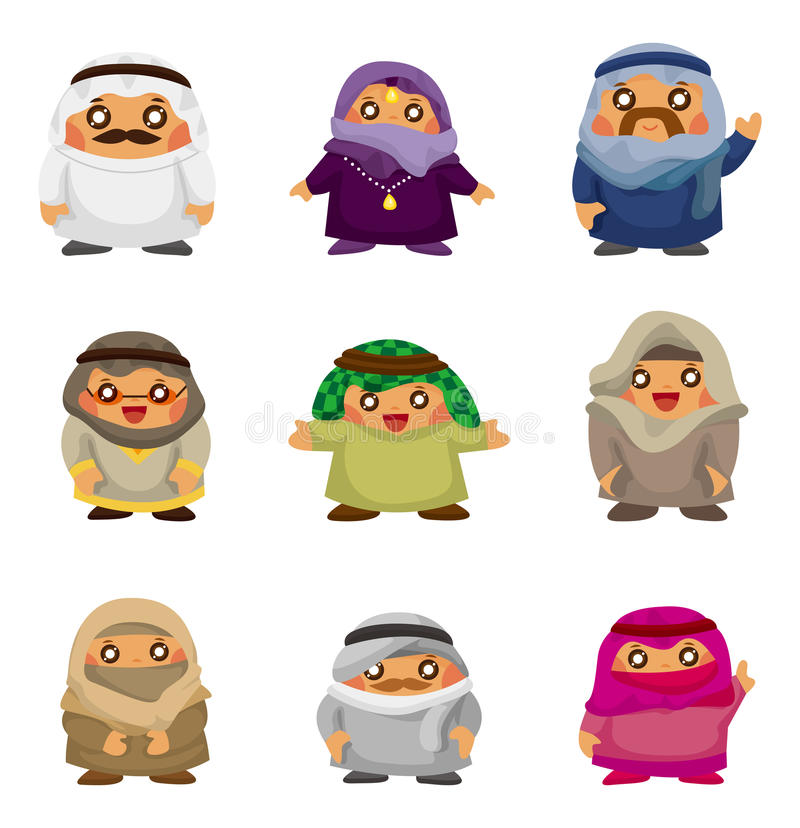 Cartoon Arabian people icons vector illustration
