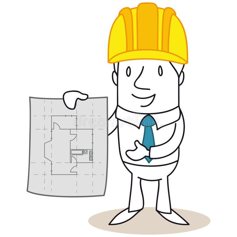 Cartoon Architect Construction Manager Building Plan Stock Vector
