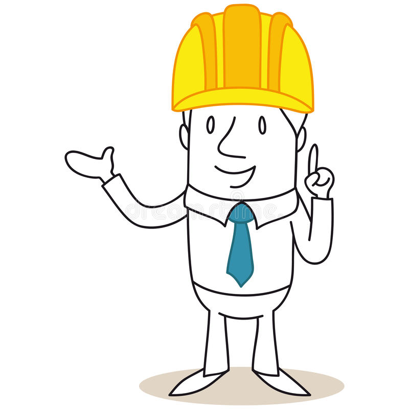 Cartoon architect construction manager pointing and explaining. Vector illustration of a monochrome cartoon character: Architect, construction manager pointing vector illustration
