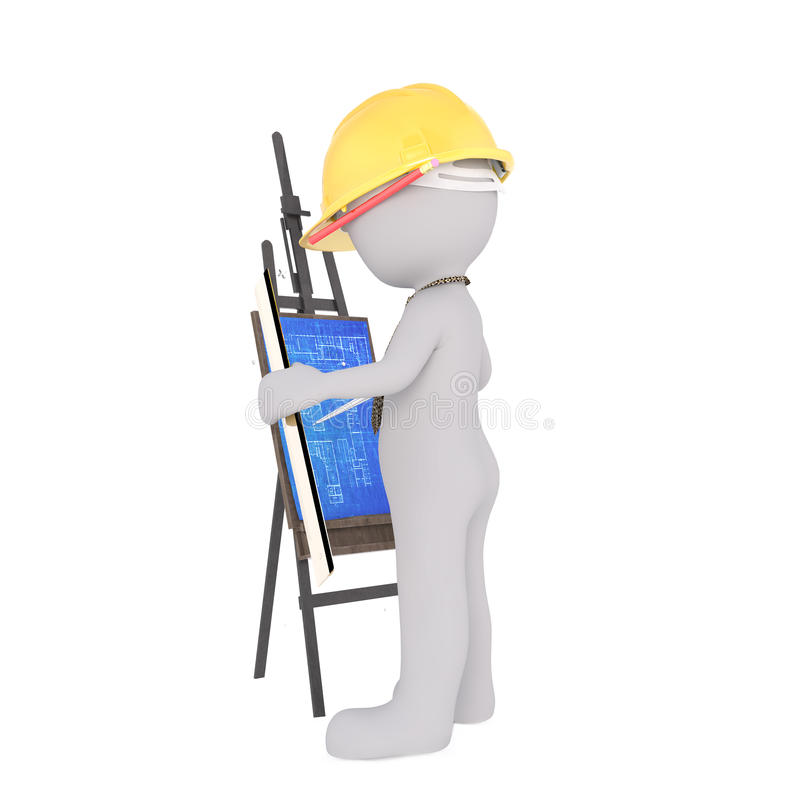 Cartoon Architect Studying Blueprints on Easel vector illustration
