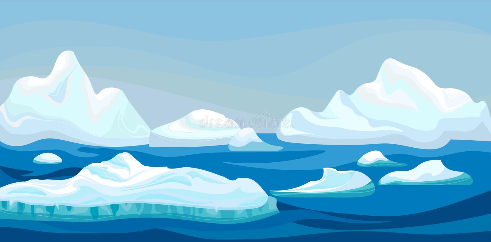 Cartoon arctic iceberg with blue sea, winter landscape. Scene game concept Arctic Ocean and snow mountains. Vector vector illustration