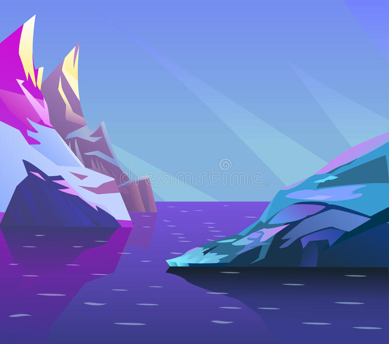 Cartoon arctic landscape. Unending background with ice, snow hills and berg vector illustration