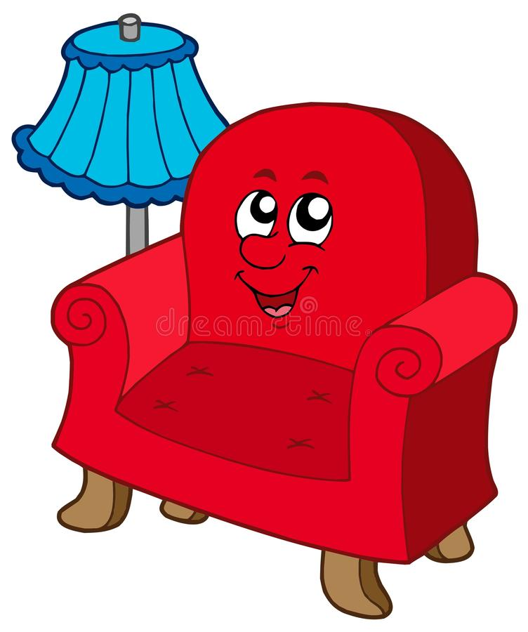 Cartoon Armchair With Lamp Stock Vector Illustration Of