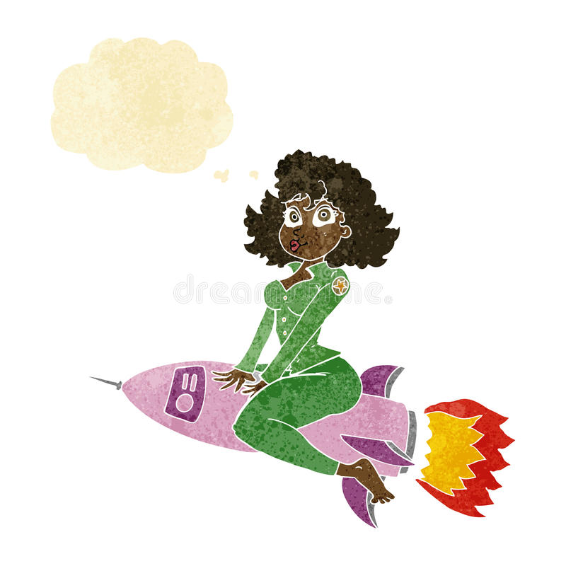 Cartoon army pin up girl riding missile with thought bubble royalty free illustration