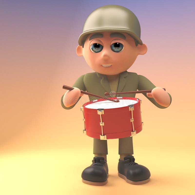 Cartoon army solder is drumming, 3d illustration royalty free illustration