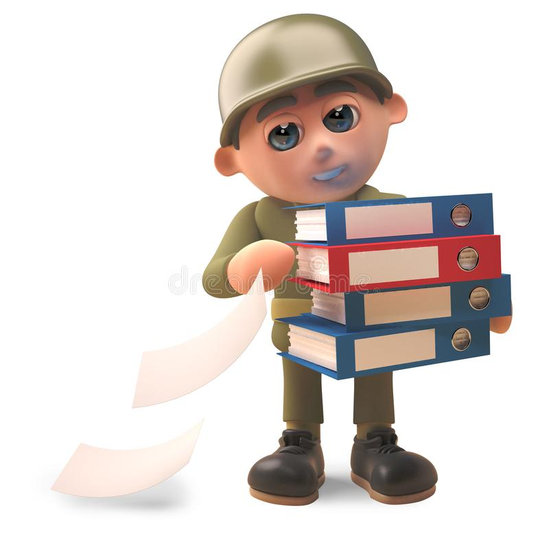 Cartoon army soldier losing files out of his folders, 3d illustration vector illustration