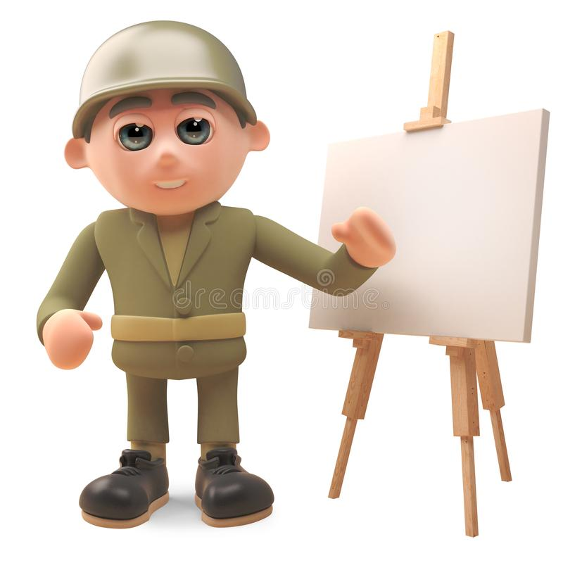 Cartoon army soldier standing by whiteboard, 3d illustration stock illustration