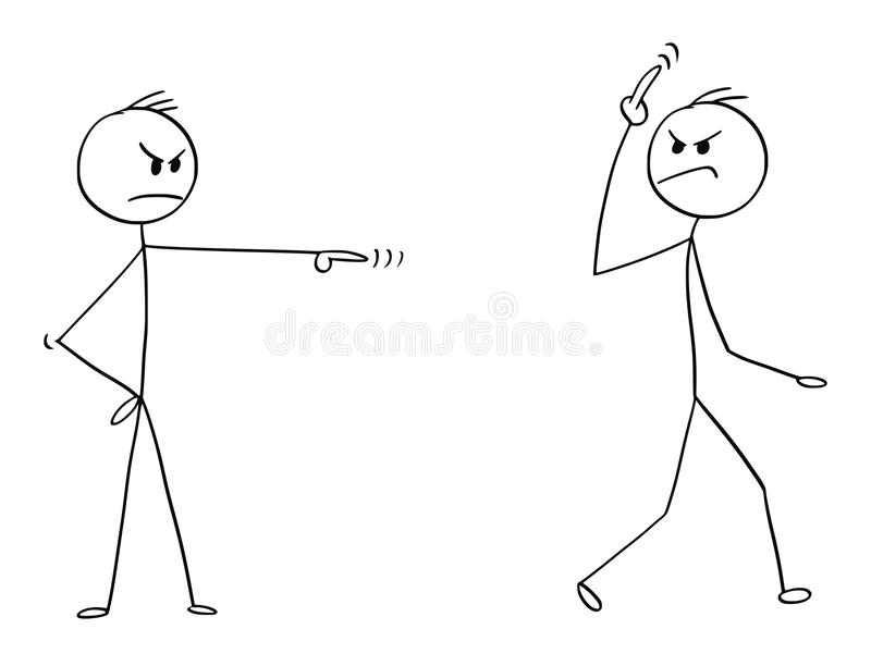 Cartoon of Arrogant Man, Worker or Businessman Fired, Sacked or Dismissed From Work and Showing You Gesture Sign. Cartoon stick man drawing conceptual stock illustration