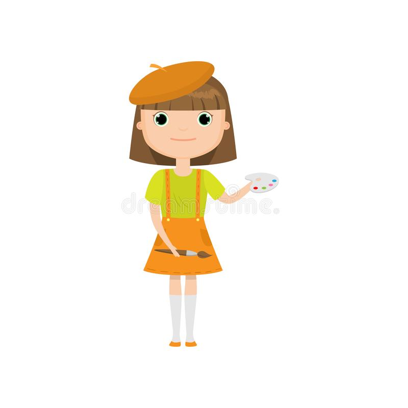 Cartoon artist girl with brush and paints isolated on white background stock illustration