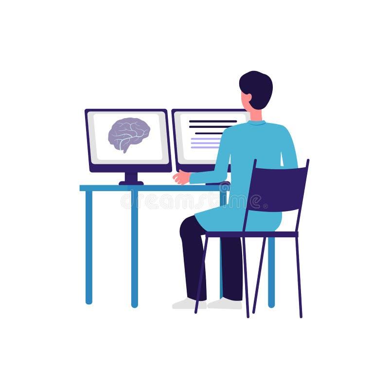 Cartoon-Arzt, der sich das Ergebnis der Gehirnscans auf dem Bildschirm des Computers ansieht lizenzfreie abbildung