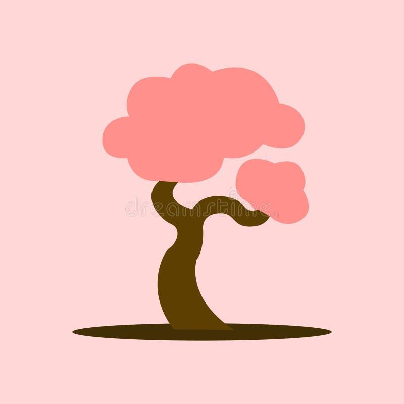 Cartoon Asian Blooming Tree Vector Illustration Graphic. Design stock illustration